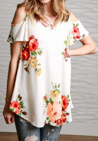 White Floral Print Cut Out Off-Shoulder V-neck Short Sleeve Casual T-Shirt