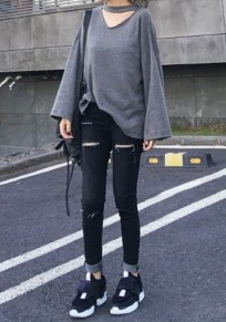 Grey Plain Cut Out Comfy Open Back Long Sleeve T-Shirt