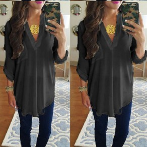 Black Irregular Pockets Deep V 3/4 Sleeve T-Shirt