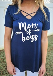 Blue Monogram Mom Of Boys Print Cut Out Oversize Casual T-shirt