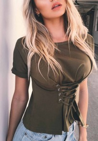 Green Lace-up Round Neck Short Sleeve Slim Casual T-Shirt