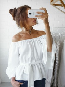 White Ruffle Sashes Boat Neck Off Shoulder Flare Sleeve Peplum Fashion Casual Blouse