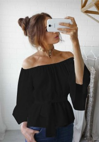 Black Ruffle Sashes Boat Neck Off-shoulder Flare Sleeve Oversize Bohemian T-shirt