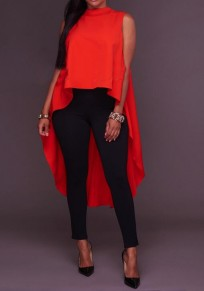 Red Irregular Swallowtail Draped High-low Band Collar Oversize Casual T-Shirt
