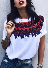 White Floral Rose Print Short Sleeve Fashion T-Shirt
