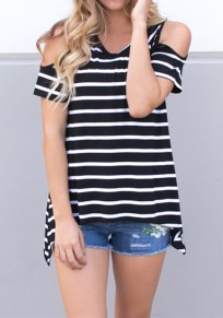 Black-White Striped Print Cut Out Short Sleeve Casual T-Shirt