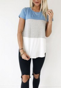Light Blue Patchwork Striped Round Neck Short Sleeve Casual T-Shirt