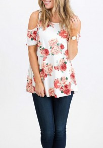 White Floral Cut Out Off Shoulder Draped Short Sleeve Casual T-Shirt