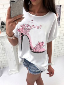 Red Floral Round Neck Short Sleeve Fashion Loose T-Shirt