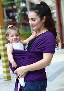 Purple Cut Out Short Sleeve Casual T-Shirt Breathable Baby Carriers