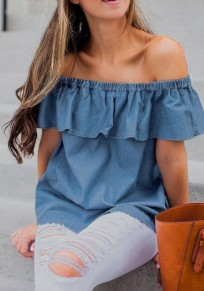 Dark Blue Ruffle Backless Off Shoulder Short Sleeve Oversize Casual T-Shirt