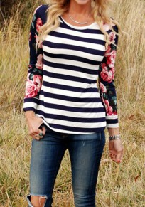 Blue Striped Draped Round Neck Long Sleeve Casual T-Shirt