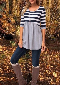 Grey Patchwork Striped Draped Round Neck Casual T-Shirt