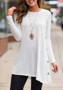 White Buttons Draped Irregular Long Sleeve Casual T-Shirt
