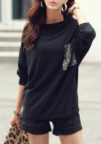Black Sequin Pocket Dolman Sleeve Band Collar Long Sleeve Casual T-shirt