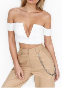 White Bandeau Off Shoulder Short Sleeve Deep V-neck Fashion T-Shirt