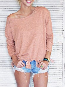 Orange Pink Tassel Round Neck Long Sleeve Casual T-Shirt