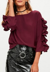 Wine Red Cascading Ruffle Round Neck Casual T-Shirt