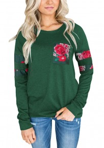 Green Floral Print Round Neck Long Sleeve Casual T-Shirt