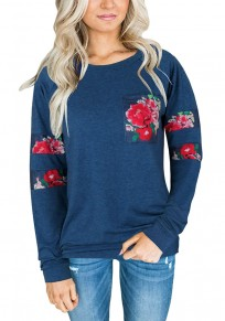 Dark Blue Floral Print Round Neck Long Sleeve Casual T-Shirt