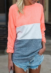 Red Color Block Print Round Neck Long Sleeve Casual T-Shirt