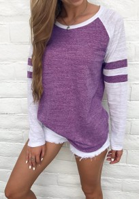 Purple Striped Print Round Neck Long Sleeve Casual T-Shirt