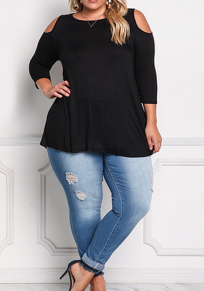Black Cut Out Plus Size Round Neck 3/4 Sleeve Casual T-Shirt