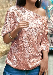 Pink Patchwork One-shoulder Sequin Round Neck Elbow Sleeve Fashion T-Shirt