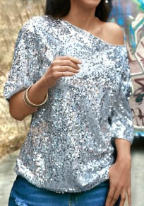 Silver Patchwork One-shoulder Sequin Round Neck Elbow Sleeve Clubwear NYE Party Top T-Shirt
