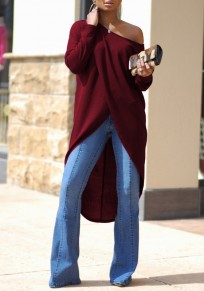 Burgundy Irregular Swallowtail One Shoulder High-low Long Sleeve Oversized Casual T-Shirt