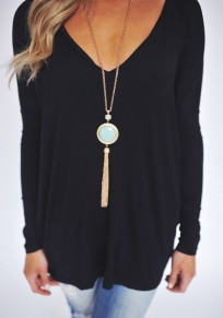 Black Plain V-neck Long Sleeve Fashion T-Shirt