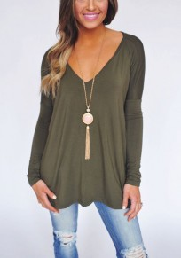 Green Plain V-neck Long Sleeve Fashion T-Shirt