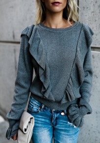 Grey Plain Cascading Ruffle Round Neck Long Sleeve Casual T-Shirt
