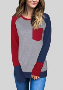 Wine Red Patchwork Color Block Pockets Casual Baseball Plus Size Long T-Shirt
