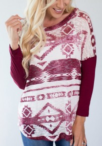 Red Floral Print Round Neck Long Sleeve National T-Shirt