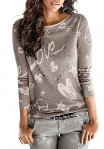 Grey Sequin Letter Print Round Neck Long Sleeve Fashion T-Shirt