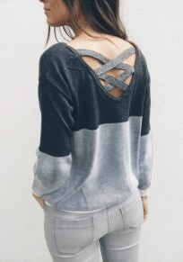 Gery-Black Patchwork Cut Out Backless Round Neck Long Sleeve Casual T-Shirt