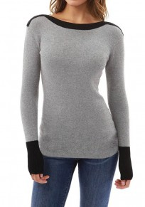Grey Patchwork Round Neck Long Sleeve Casual T-Shirt