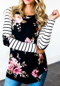 Black Striped Floral Print Round Neck Long Sleeve Casual T-Shirt