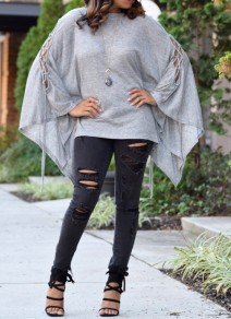 Grey Irregular Lace-up Dolman Sleeve Round Neck Oversize T-Shirt