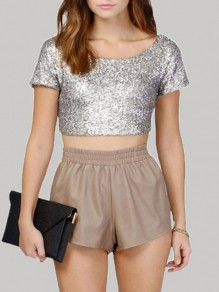 Silver Patchwork Sequin Crop Christmas Backless Short Sleeve T-Shirt