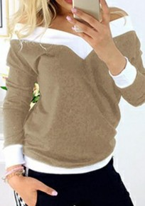 Khaki Patchwork Print V-neck Long Sleeve Sweet T-Shirt