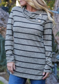 Grey Striped Buttons Irregular Long Sleeve Casual T-Shirt