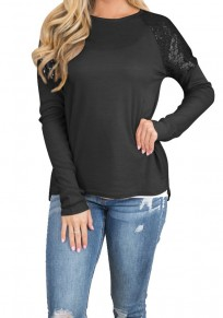 Black Sequin Round Neck Long Sleeve Fashion T-Shirt