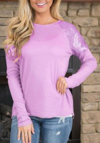Purple Sequin Round Neck Long Sleeve Fashion T-Shirt