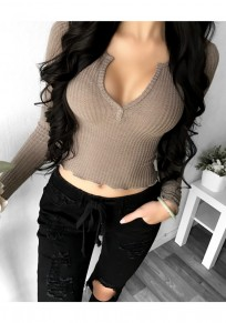 Dark Khaki Plain Crop V-neck Long Sleeve Fashion T-Shirt