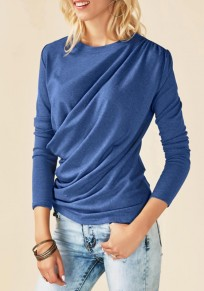 Blue Irregular Ruffle Round Neck Long Sleeve Casual T-Shirt