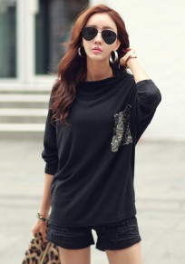 Black Pockets High Neck Long Sleeve Fashion T-Shirt