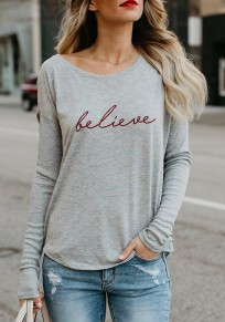 Grey Letter Print Round Neck Long Sleeve T-Shirt