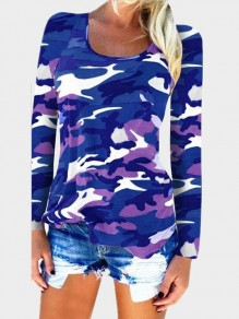 Navy Blue Camouflage Draped Round Neck Long Sleeve Fashion T-Shirt